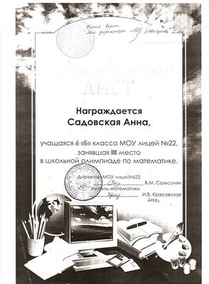 2008 г. Садовская Анна за 3 место в школьной олимпиаде по математике.