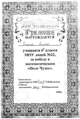 """2008 г. Сажина Эллина за победу в математическом """"Поле Чудес""""."""