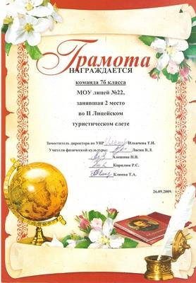 2009 г. 2 место во II Лицейском туристическом слете.
