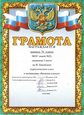 """2009 г. 1 место в номинации """"Визитка класса"""""""
