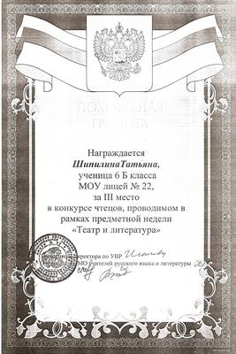 2008 г. Шипилина Татьяна за 3 место в конкурсе чтецов.