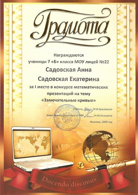 2009 год. Садовские Анна и Екатерина 1 место в конкурсе математических презентаций.